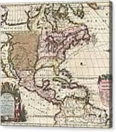 1698 Louis Hennepin Map Of North America Acrylic Print by Paul Fearn
