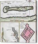 1750 Bellin Map Of The Senegal Acrylic Print by Paul Fearn