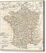 1799 Clement Cruttwell Map Of France In Departments Acrylic Print by Paul Fearn