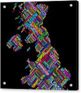Great Britain Uk City Text Map Acrylic Print by Michael Tompsett