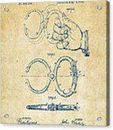 1891 Police Nippers Handcuffs Patent Artwork - Vintage Acrylic Print by Nikki Marie Smith