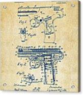 1911 Automatic Firearm Patent Artwork - Vintage Acrylic Print by Nikki Marie Smith