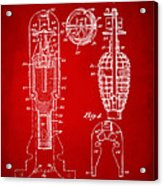 1921 Explosive Missle Patent Minimal Red Acrylic Print by Nikki Marie Smith