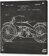 1924 Harley Motorcycle Patent Artwork - Gray Acrylic Print by Nikki Marie Smith