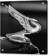 1935 Chevrolet Sedan Hood Ornament -479bw Acrylic Print by Jill Reger