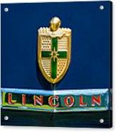 1942 Lincoln Continental Cabriolet Emblem Acrylic Print by Jill Reger