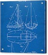 1948 Sailboat Patent Artwork - Blueprint Acrylic Print by Nikki Marie Smith