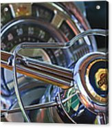 1950 Chrysler New Yorker Coupe Steering Wheel Emblem Acrylic Print by Jill Reger