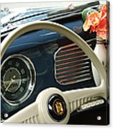 1952 Volkswagen Vw Bug Steering Wheel Acrylic Print by Jill Reger