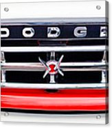 1960 Dodge Truck Grille Emblem Acrylic Print by Jill Reger