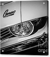 1969 Chevrolet Camaro In Black And White Acrylic Print by Paul Velgos