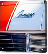 1969 Chevrolet Camaro Rs-ss Indy Pace Car Replica Hood Emblem Acrylic Print by Jill Reger