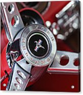 1969 Ford Mustang Mach 1 Steering Wheel Acrylic Print by Jill Reger