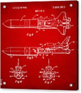 1975 Space Vehicle Patent - Red Acrylic Print by Nikki Marie Smith