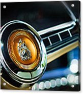 1949 Plymouth P-18 Special Deluxe Convertible Steering Wheel Emblem Acrylic Print by Jill Reger