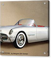 1953 Corvette Classic Vintage Sports Car Automotive Art Acrylic Print by John Samsen