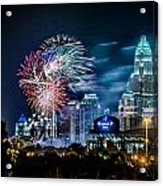 4th Of July Firework Over Charlotte Skyline Acrylic Print by Alexandr Grichenko