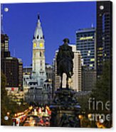 Ben Franklin Parkway And City Hall Acrylic Print by John Greim