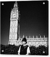 british metropolitan police office guarding the houses of parliament London England UK Acrylic Print by Joe Fox