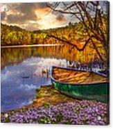 Canoe At The Lake Acrylic Print by Debra and Dave Vanderlaan
