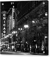Chicago Theatre At Night Acrylic Print by Christine Till