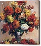 Dahlias Acrylic Print by Pierre-Auguste Renoir