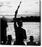 Evening Sunset Celebrations Mallory Square Key West Florida Usa Acrylic Print by Joe Fox