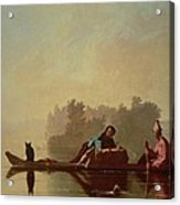Fur Traders Descending The Missouri Acrylic Print by George Caleb Bingham