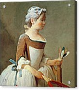Girl With Racket And Shuttlecock Acrylic Print by Jean-Baptiste Simeon Chardin
