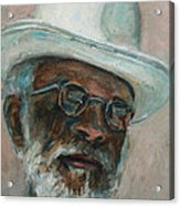 Gray Beard Under White Hat Acrylic Print by Xueling Zou