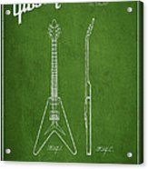Mccarty Gibson Electric Guitar Patent Drawing From 1958 - Green Acrylic Print by Aged Pixel
