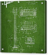 Mccarty Gibson Les Paul Guitar Patent Drawing From 1955 - Green Acrylic Print by Aged Pixel