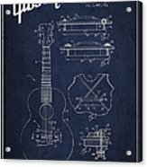 Mccarty Gibson Stringed Instrument Patent Drawing From 1969 - Navy Blue Acrylic Print by Aged Pixel