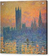 Monet's The Houses Of Parliament At Sunset Acrylic Print by Cora Wandel