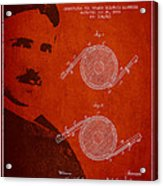 Nikola Tesla Patent From 1886 Acrylic Print by Aged Pixel