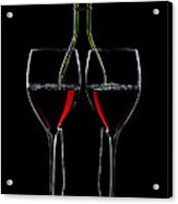 Red Wine Bottle And Wineglasses Silhouette Acrylic Print by Alex Sukonkin
