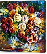 Roses And Wine Acrylic Print by Leonid Afremov