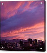 Salt Lake City Sunset Acrylic Print by Rona Black