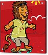 skateboarding Lion  Acrylic Print by Martin Davey