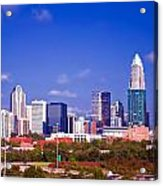 Skyline Of Uptown Charlotte North Carolina At Night Acrylic Print by Alexandr Grichenko