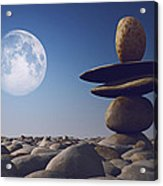 Stacked Stones In Sunlight Witt Moon Acrylic Print by Aleksey Tugolukov