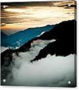 Sunset Himalayas Mountain Nepal Panaramic View Acrylic Print by Raimond Klavins