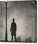 Victorian Man Standing Next To An Illuminated Gas Lamp Acrylic Print by Lee Avison