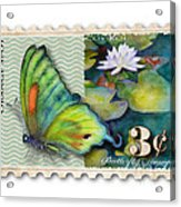 3 Cent Butterfly Stamp Acrylic Print by Amy Kirkpatrick
