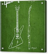 Mccarty Gibson Electrical Guitar Patent Drawing From 1958 - Green Acrylic Print by Aged Pixel