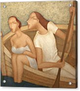 Pair In A Boat  Acrylic Print by Nicolay  Reznichenko