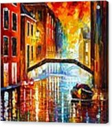 The Canals Of Venice Acrylic Print by Leonid Afremov