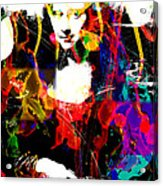 31x48 Mona Lisa Screwed - Huge Signed Art Abstract Paintings Modern Www.splashyartist.com Acrylic Print by Robert R Splashy Art Abstract Paintings
