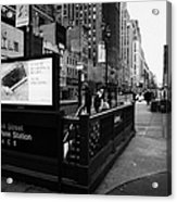 34th Street Entrance To Penn Station Subway New York City Usa Acrylic Print by Joe Fox