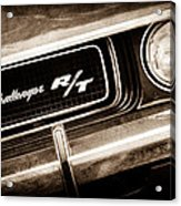 1970 Dodge Challenger Rt Convertible Grille Emblem Acrylic Print by Jill Reger